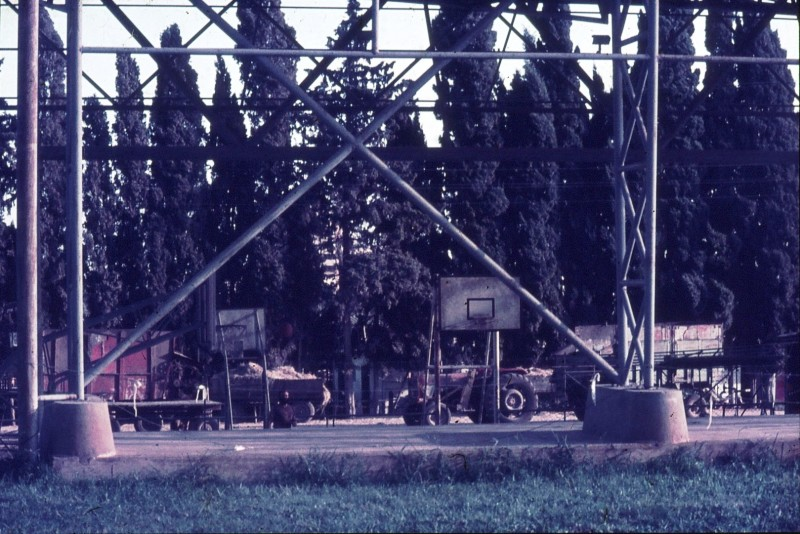 שקופית 8- 292 -ג'ש 1967-9-מגרש הכדורסל-ברקע-טרקטור המספוא ושדרת הברושים ליד הרפת