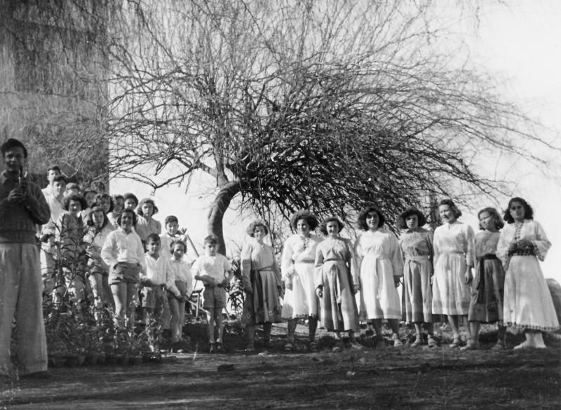 תמונה 41 -946 -ג'ש 1950-ט'ו בשבט-דני פקטורי בחליל עם ילדי המוסד ובנות יסעור