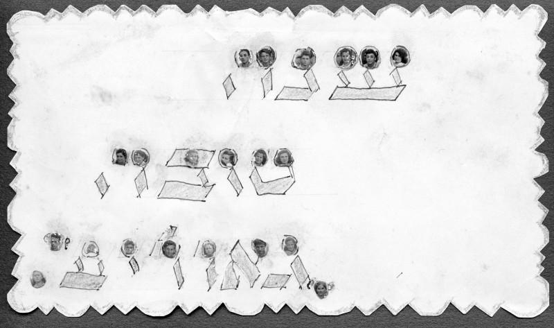 תמונה 43 -946 -ג'ש 1948-52-שנה טובה מקב' גאולים-בהמשך קב' יסעור-כל אות בראשה-תמונה של אחד מחברי הקבוצה