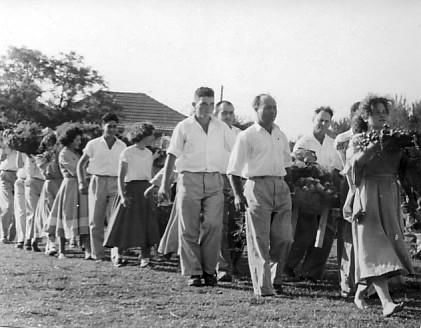 תמונה 2- 314 - ביכורים שנות ה-40-50 - גן-ירק - איציק מילר אלי סער וענת הרפז (יסעור) בנימין אטינגו