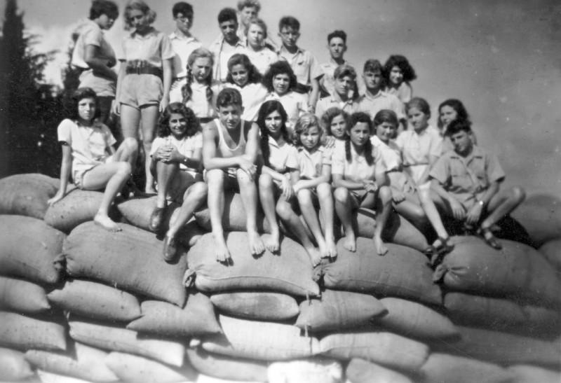 תמונה 3 -946 -ג'ש 1948-52-קב' יסעור (גאולים) על ערימת שקי תבואה בגורן