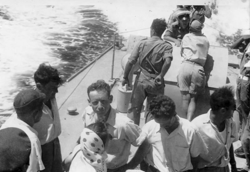 תמונה 11- 272 - סיור בחיל הים עם יינוש פריש שנות ה-50 - ארנון מגן יהודה אפרתי שלמה ספיר-יסעור אבר