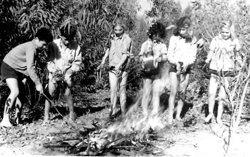 תמונה 2- 345 - ילדי חבצלת ליד המדורה - נאוה להבי חוה וידרה חנה פגי סמדר אשד יעקב ב.ז