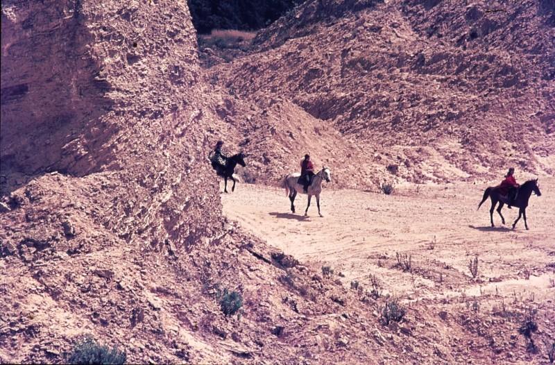 שקופית 33- 172 -ג'ש 1974-6-ילדי קב' סלע על סוסים במחצבה בדמיירה