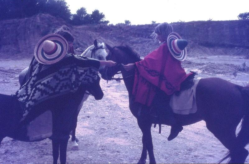 שקופית 35- 172 -ג'ש 1974-6-עופר בראון ויעקב ברק על סוסים במחצבה בדמיירה