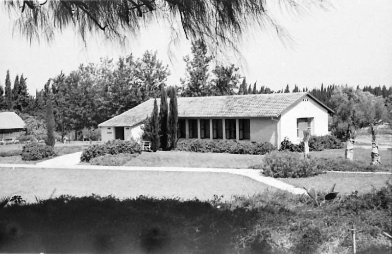 תמונה 4- 793 -ג'ש 1958-בית אורי ומאחור צריף מחסן הקרור-שתילת שלושת הדקלים