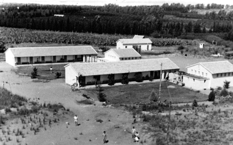 תמונה 11- 235 - שני הבתים הראשונים במוסד ובית מגורים לחברים - ברקע מטע הבננות - שנות ה-50