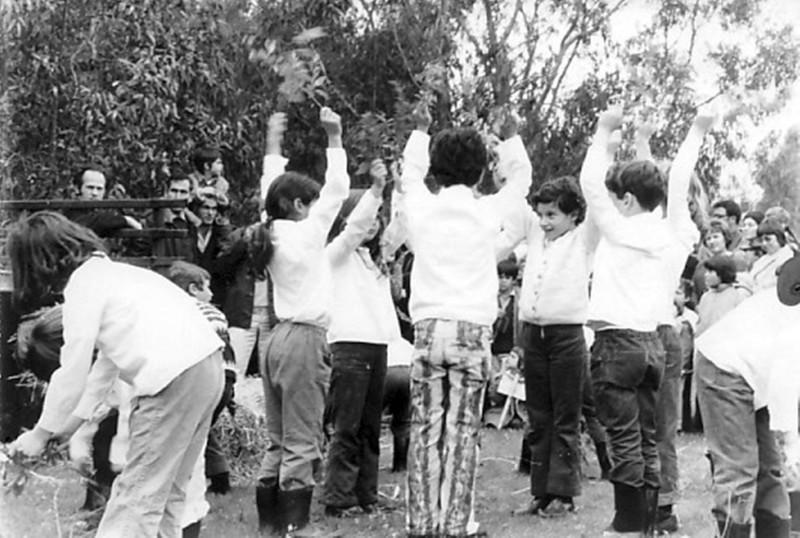 תמונה 2- 47 - קבוצת דרור בטו בשבט 1972 - מאחור יגאל עופר אמנון בראון יוסף ברלינסקי
